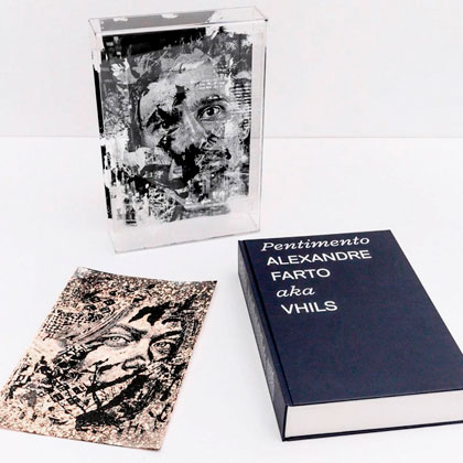 """Impressão offset premium do livro """"Pentimento de Alexandre Farto aka Vhils"""" 01"""