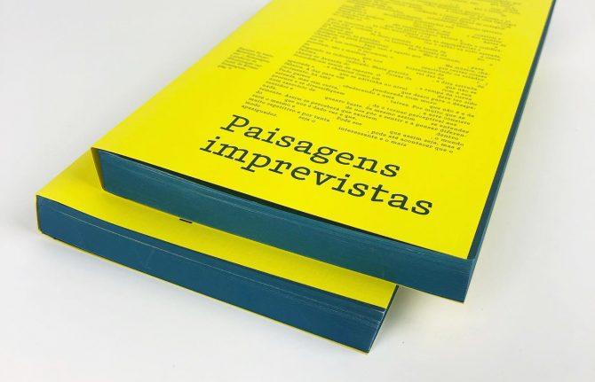 """Impressão offset premium do livro """"Paisagens imprevistas"""". Acabamento gráfico: Topos pintados 01"""