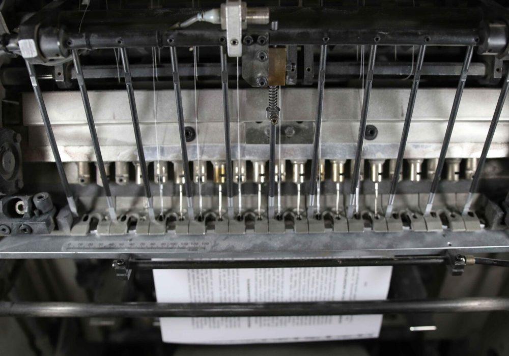 Máquina de costura nas instalações da sede da Maiadouro na cidade do Porto